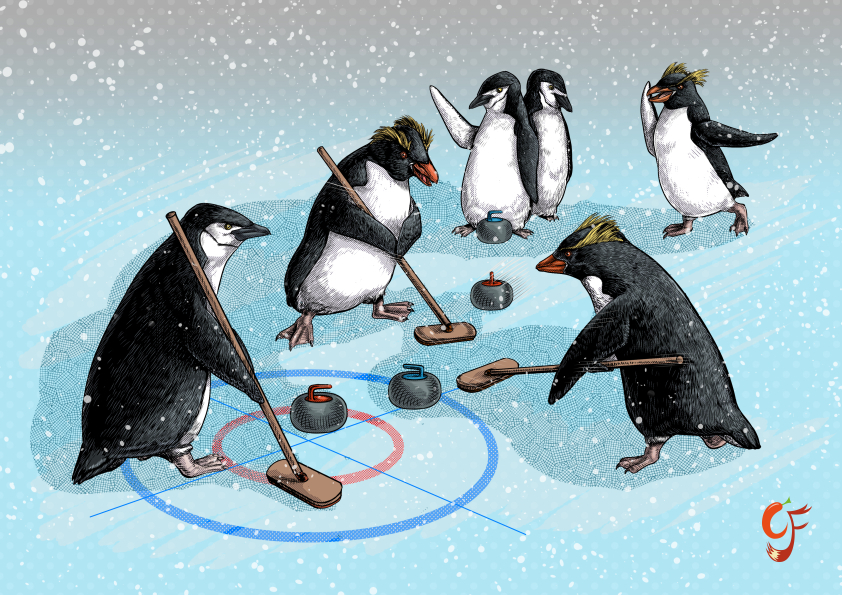 Penguin Curling
