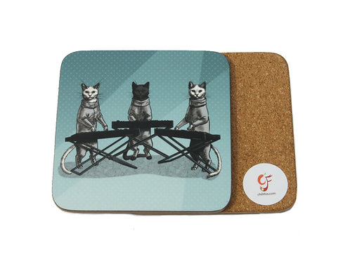 Cat Keyboard Band Coaster