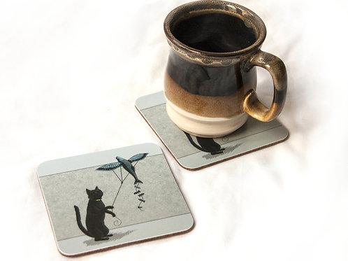 Cat Fish Kite Coaster