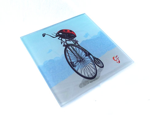 Ladybird Pennyfarthing Glass Coaster
