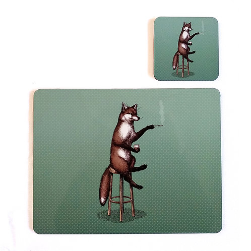 Fox at the Bar Placemat and Coaster set
