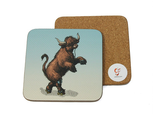 Highland Cow Skater Coaster