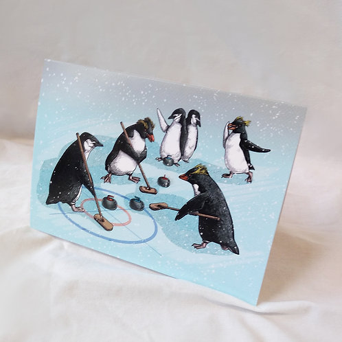 Penguin Curling Christmas card