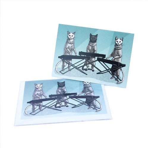 Cat Keyboard Band Card
