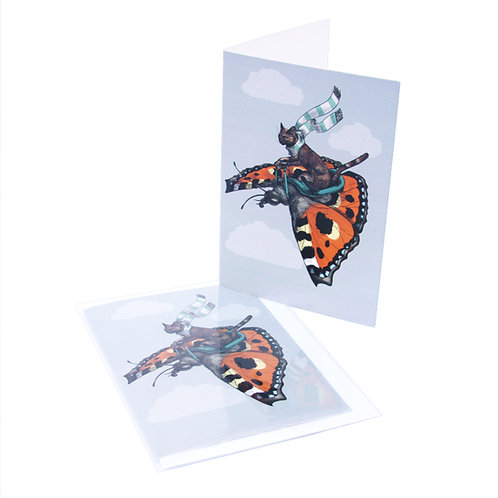 Tortoiseshell Cat and Butterfly Card