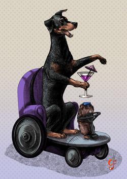 Doberman with Guinea Pig Driver