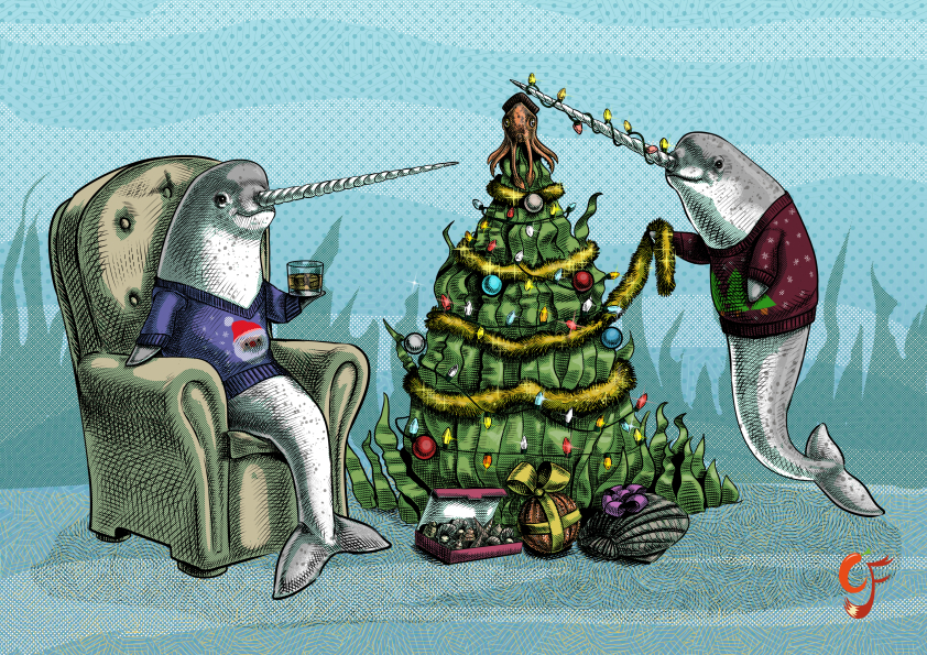Narwhal Underwater Christmas