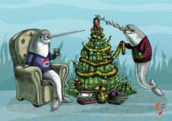 Narwhal Underwater Christmas