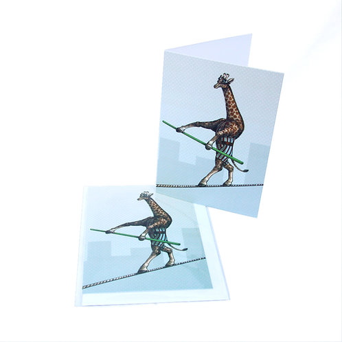 Giraffe Tightrope Card