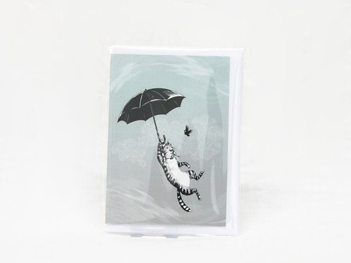 Cat Umbrella Greetings Card