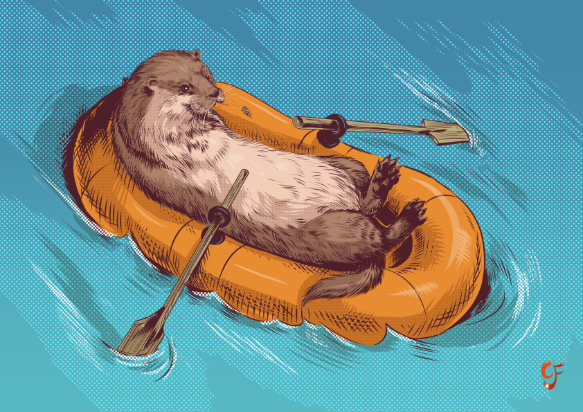 Otter in a Boat