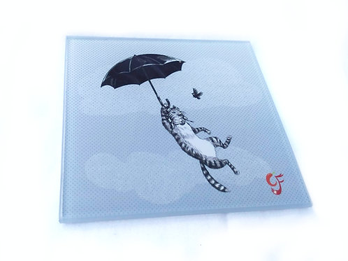 Cat Umbrella Glass Coaster