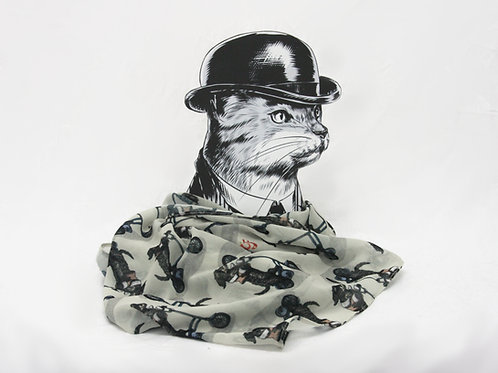Dachshund on Foldable Bike Georgette Scarf