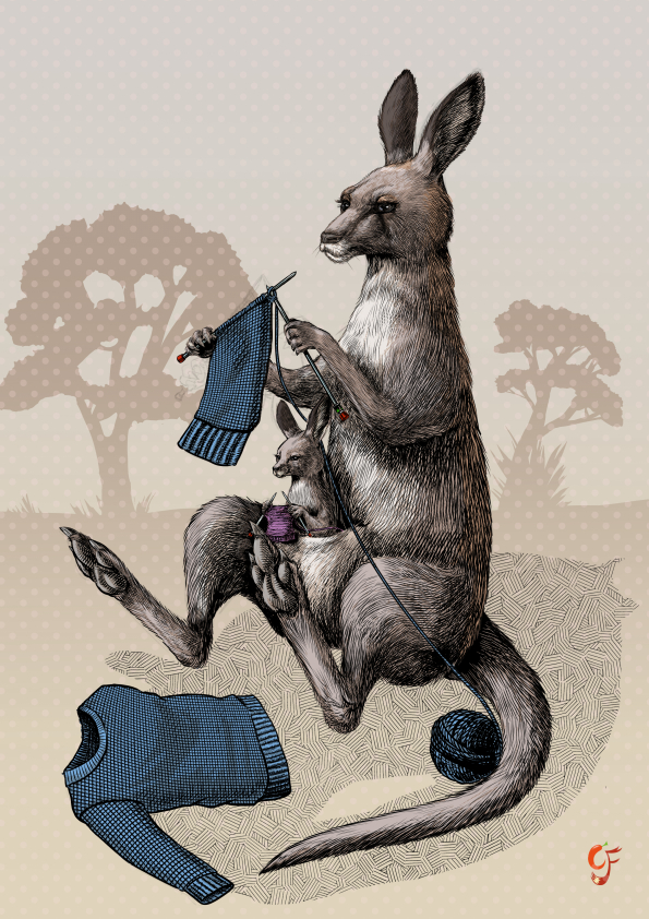 Kangaroo and Joey knitting jumpers