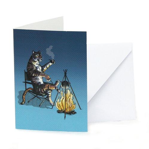 Tiger Camping Greetings Card