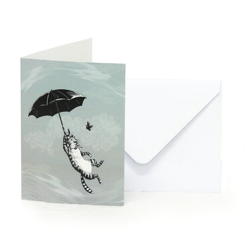 Cat Umbrella Greetings Card
