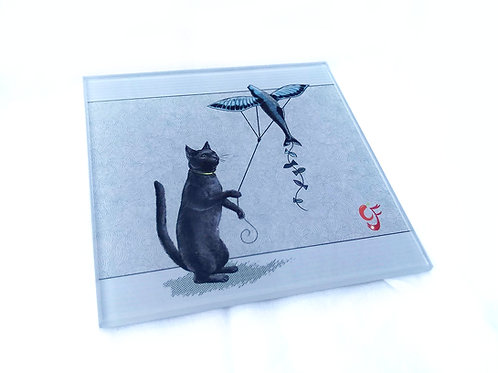 Cat Kite Glass Coaster