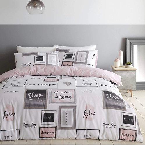 Sleep Dreams Slogan Print Blush Pink Duvet Cover Set