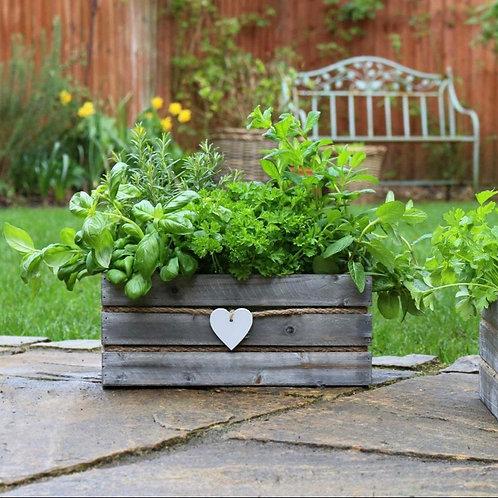 Grey Wash Wooden Plant Pot
