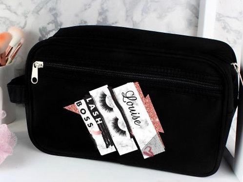 Personalised Eyelash Boss Black Vanity Bag