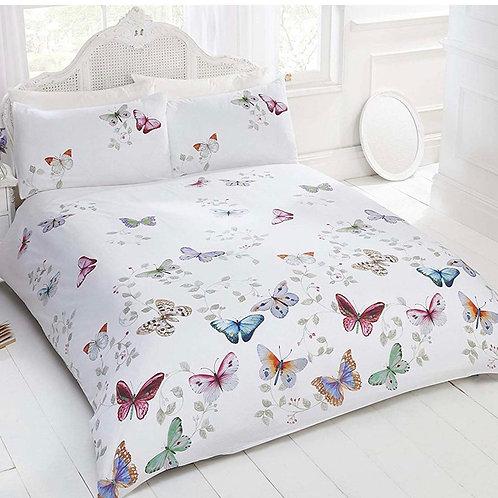 Mariposa Butterflies White Duvet Cover Set