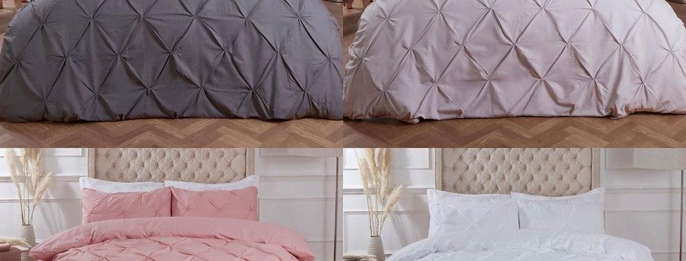 Diamond Pintuck Pinch Pleat Duvet Cover Set