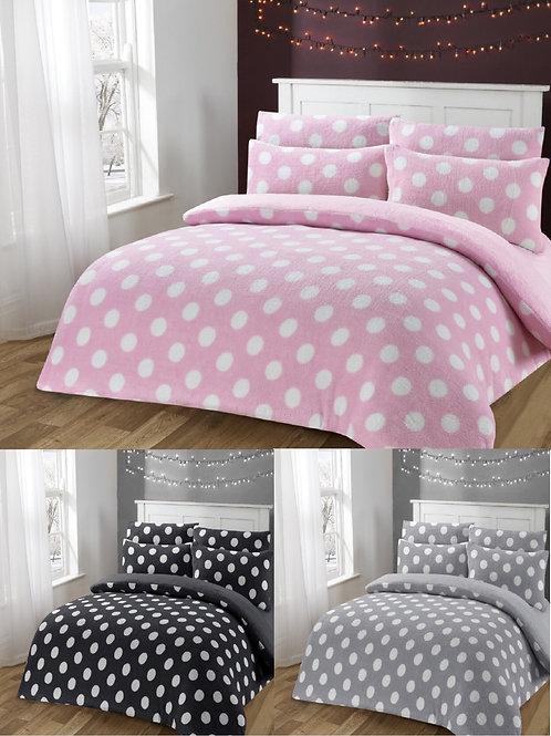 Polka Dot Teddy Fleece Dotty Bedding Set
