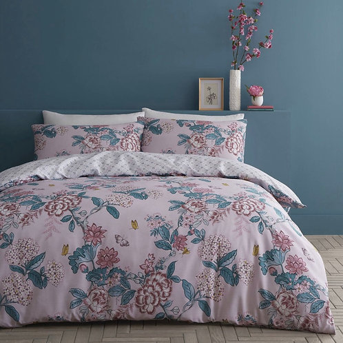 Peony Garden Japanese Floral Pink Duvet Cover Set