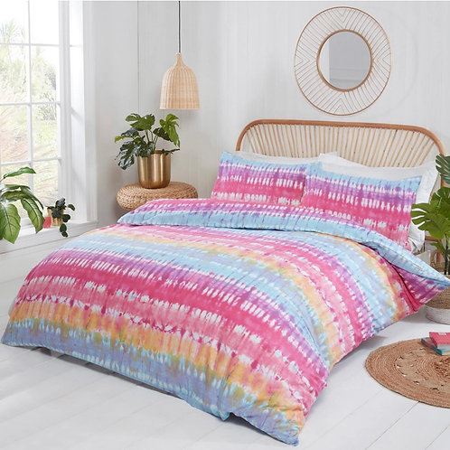 Tie Dye Stripe Print Multicolour Duvet Cover Set