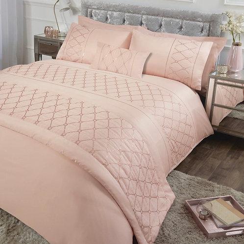 Sequin Sparkle Embellished Blush Pink Duvet Cover Set