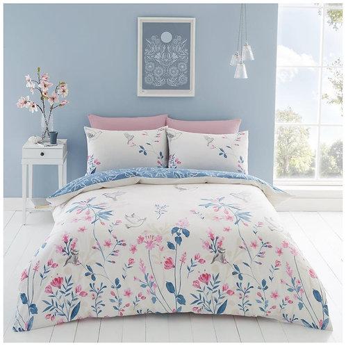 Natural Printed Floral Reversible Bedding Set
