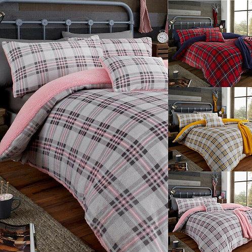 Tartan Highland Check Teddy Fleece Duvet Quilt Cover Cosy Super Soft Bedding Set
