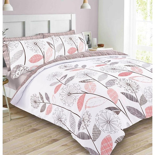 Floral Tartan Duvet Cover Set - Blush