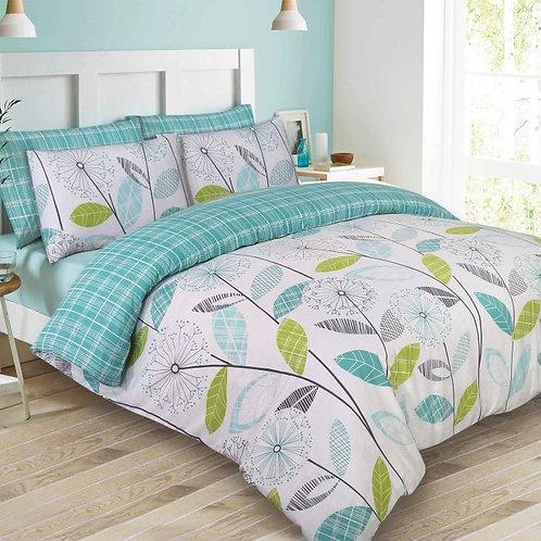 Floral Tartan Check Duvet Cover Set - Teal/Green