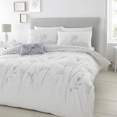 Meadowsweet Floral Hand Painted Reversible White & Grey Duvet Cover Set