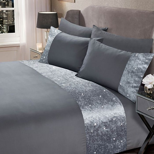 Crushed Velvet Glitter Panel Duvet Cover Set - Silver