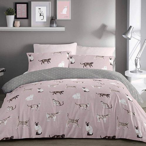 Cats Polka Dot Reversible Blush Pink Duvet Cover Set