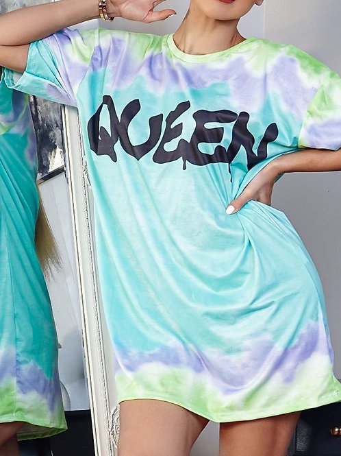 Queen Print Tie Dye Oversize T Shirt Dress