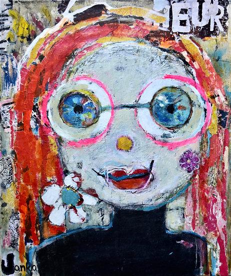 Collage et acrylique sur toile, 46 x 55 cm