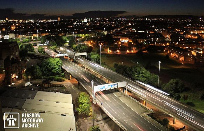 M8 motorway - Woodside Section - Nighttime aerial view (September 2017).