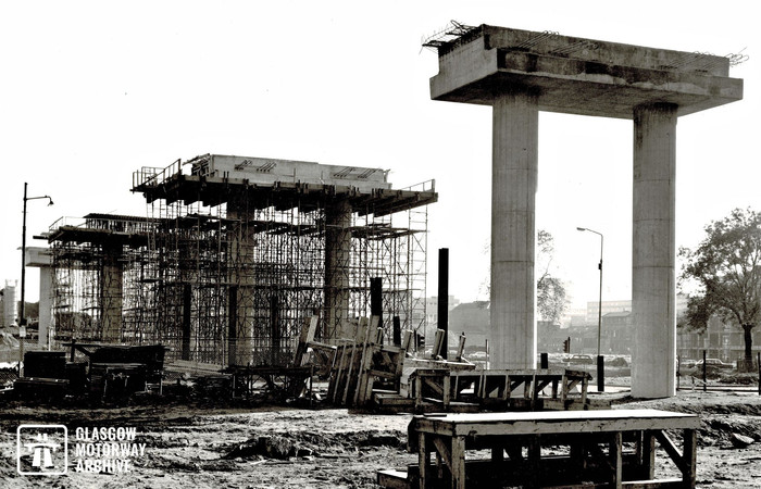 M8 motorway - Woodside Section - Construction of viaduct support columns (Late 1969).