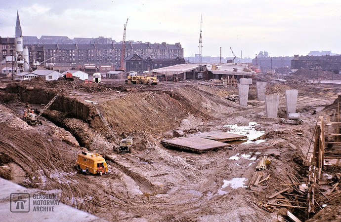 Construction of M8 Townhead Interchange, Glasgow (1967)