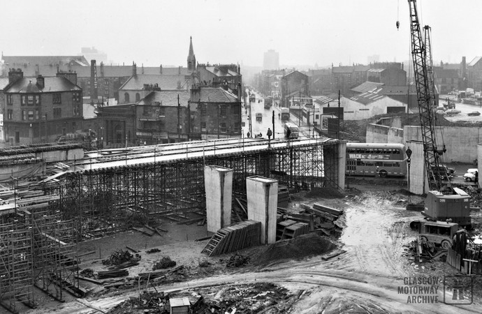 Construction of M8 Townhead Interchange at Castle Street, Glasgow (1966)