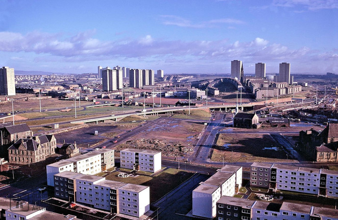 Townhead Interchange, Glasgow, from the west (November 1974)