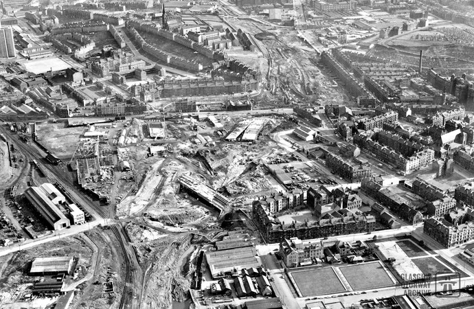 Aerial photo showing construction of M8 Townhead Interchange (1966)