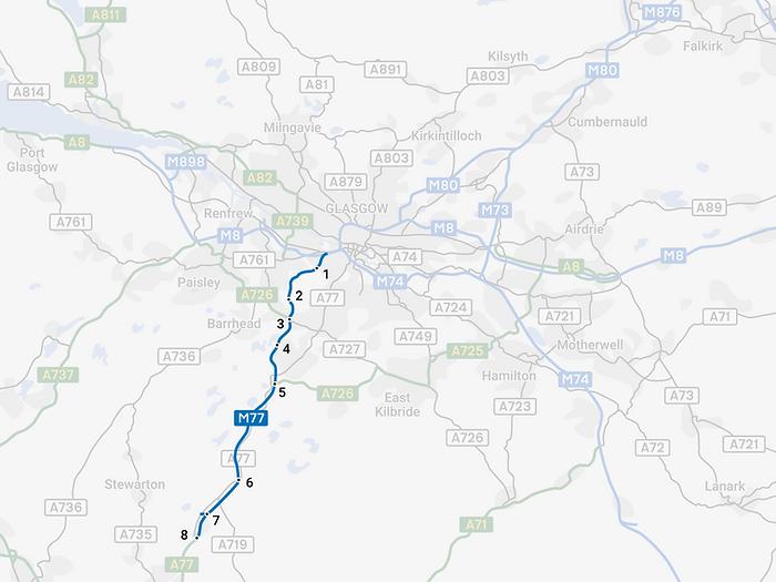 Glasgow Motorway Archive - M77 Motorway Map