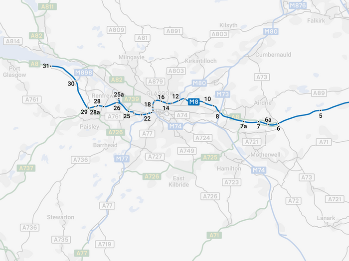 Glasgow Motorway Archive - M8 Motorway Map