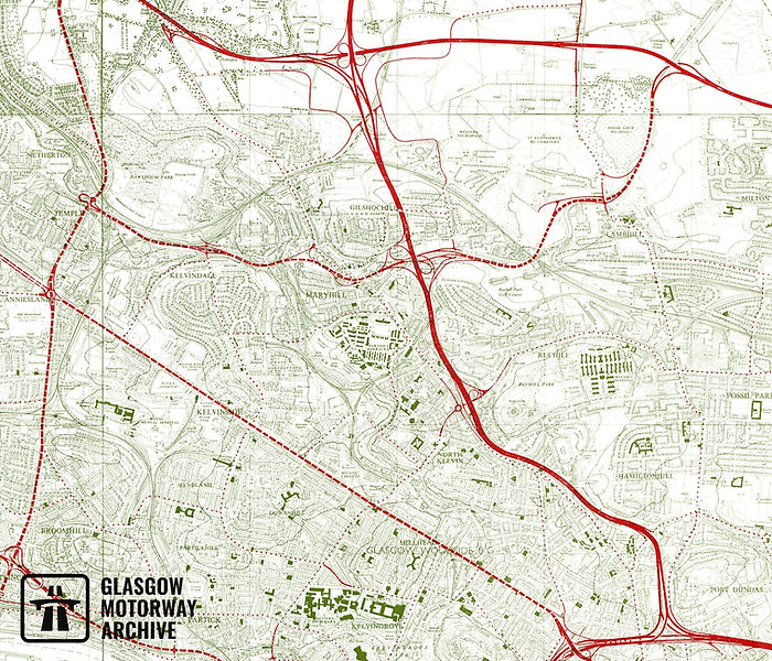 Plan for the Maryhill Motorway as published in a Highway Plan for Glasgow (1965).