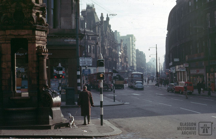 Sauchiehall Street, Glasgow at the juncton of Woodside Crescent (October 1964)