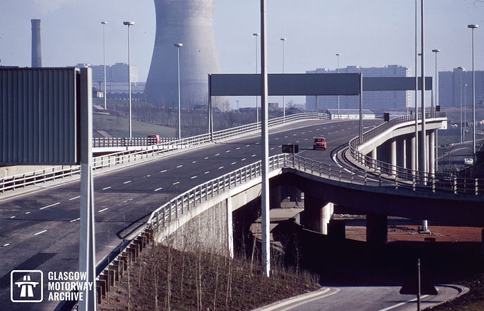 M8 motorway - Woodside Section - Looking east from Great Western Road (November 1973).